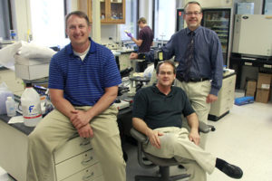 An interdisciplinary team of researchers at the University of Nebraska Medical Center in Omaha—Michael Duryee (left), Geoff Thiele (center) and Dan Anderson (right)—believe they found a way to determine who will develop potentially deadly heart disease with a simple blood test.