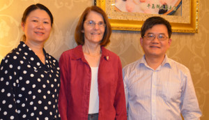Shan Fan, M.D., and Carol Toris, Ph.D., of UNMC, with Tao Guo, M.D., associate professor of ophthalmology, Tenth People's Hospital, Shanghai.