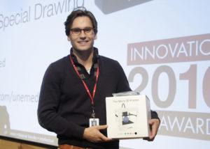 Graduate student Erik Rask won a 3D printer during the event.